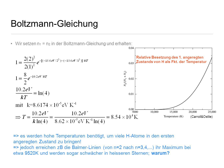 Boltzmann-Gleichung Wir setzen n 1 = n 2 in der Boltzmann-Gleichung und erhalten: => es werden hohe Temperaturen benötigt, um viele H-Atome in den ers