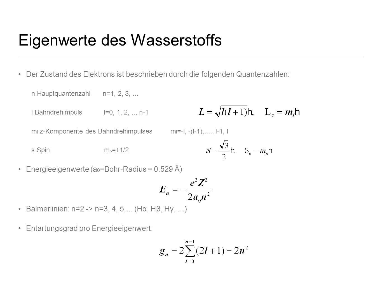 Eigenwerte des Wasserstoffs Der Zustand des Elektrons ist beschrieben durch die folgenden Quantenzahlen: n Hauptquantenzahl n=1, 2, 3,... l Bahndrehim