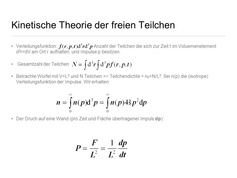 Kinetische Theorie der freien Teilchen Verteilungsfunktion: Anzahl der Teilchen die sich zur Zeit t im Voluemenelement d 3 r=dV am Ort r aufhalten, un