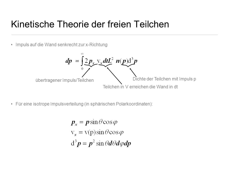 Kinetische Theorie der freien Teilchen Impuls auf die Wand senkrecht zur x-Richtung Für eine isotrope Impulsverteilung (in sphärischen Polarkoordinate