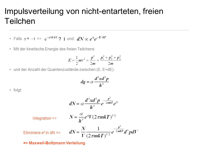 Impulsverteilung von nicht-entarteten, freien Teilchen Falls => und: Mit der kinetische Energie des freien Teilchens: und der Anzahl der Quantenzustän
