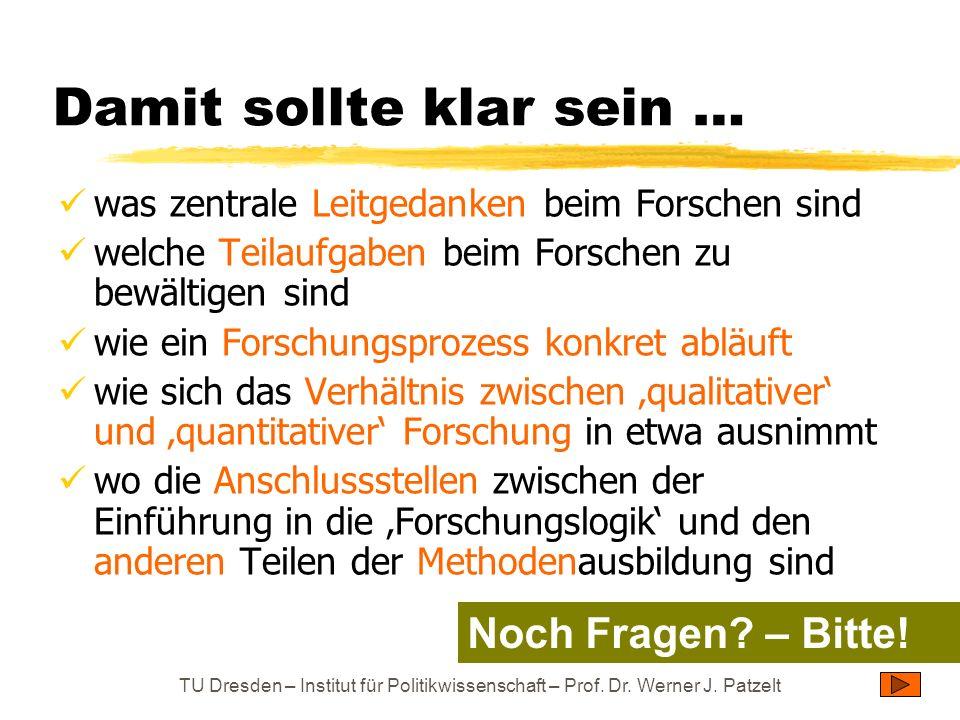 TU Dresden – Institut für Politikwissenschaft – Prof. Dr. Werner J. Patzelt Damit sollte klar sein … was zentrale Leitgedanken beim Forschen sind welc