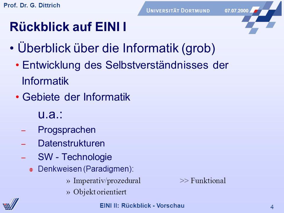 4 Prof. Dr. G. Dittrich 07.07.2000 EINI II: Rückblick - Vorschau Rückblick auf EINI I Überblick über die Informatik (grob) Entwicklung des Selbstverst