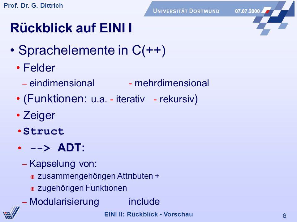 6 Prof. Dr. G. Dittrich 07.07.2000 EINI II: Rückblick - Vorschau Rückblick auf EINI I Sprachelemente in C(++) Felder – eindimensional- mehrdimensional