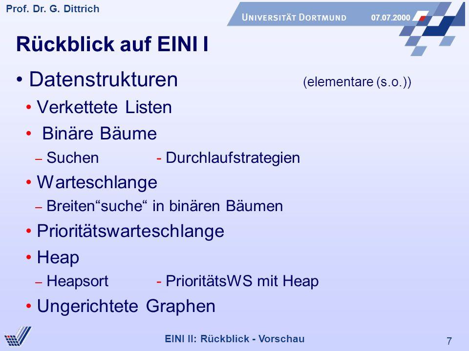 7 Prof. Dr. G. Dittrich 07.07.2000 EINI II: Rückblick - Vorschau Rückblick auf EINI I Datenstrukturen (elementare (s.o.)) Verkettete Listen Binäre Bäu