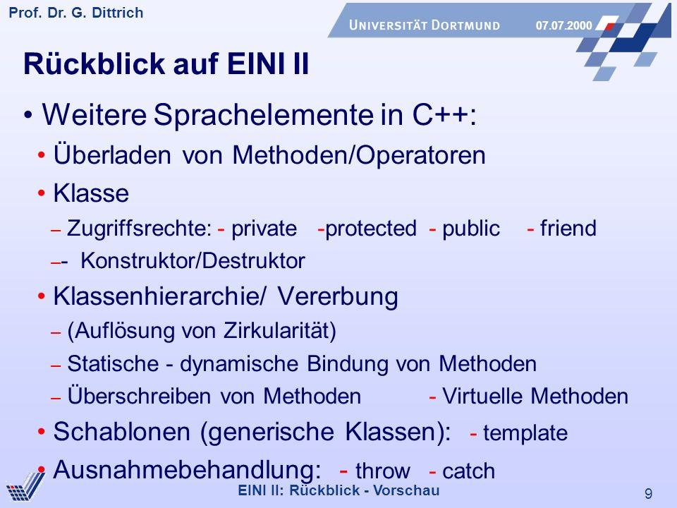 9 Prof. Dr. G. Dittrich 07.07.2000 EINI II: Rückblick - Vorschau Rückblick auf EINI II Weitere Sprachelemente in C++: Überladen von Methoden/Operatore