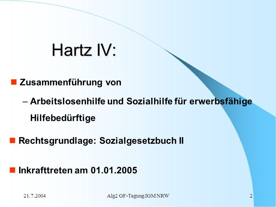 21.7.2004Alg2 GF-Tagung IGM NRW2 Zusammenführung von – Arbeitslosenhilfe und Sozialhilfe für erwerbsfähige Hilfebedürftige Rechtsgrundlage: Sozialgese