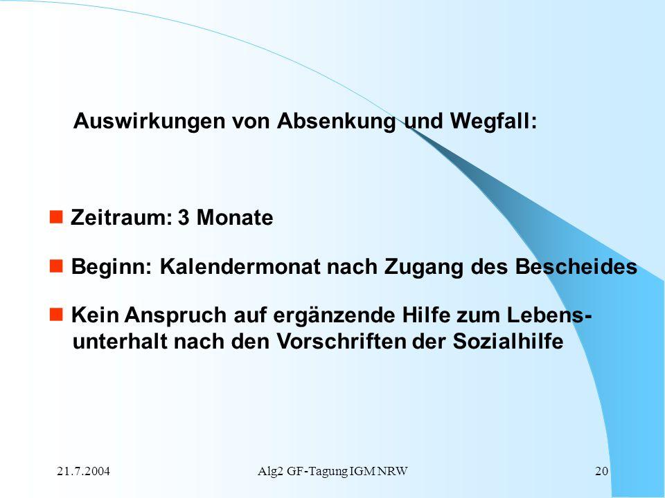 21.7.2004Alg2 GF-Tagung IGM NRW20 Auswirkungen von Absenkung und Wegfall: Zeitraum: 3 Monate Beginn: Kalendermonat nach Zugang des Bescheides Kein Ans