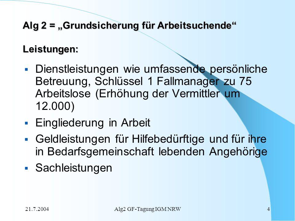 21.7.2004Alg2 GF-Tagung IGM NRW4 Dienstleistungen wie umfassende persönliche Betreuung, Schlüssel 1 Fallmanager zu 75 Arbeitslose (Erhöhung der Vermit