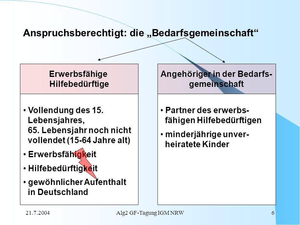 21.7.2004Alg2 GF-Tagung IGM NRW6 Anspruchsberechtigt: die Bedarfsgemeinschaft Erwerbsfähige Hilfebedürftige Vollendung des 15. Lebensjahres, 65. Leben