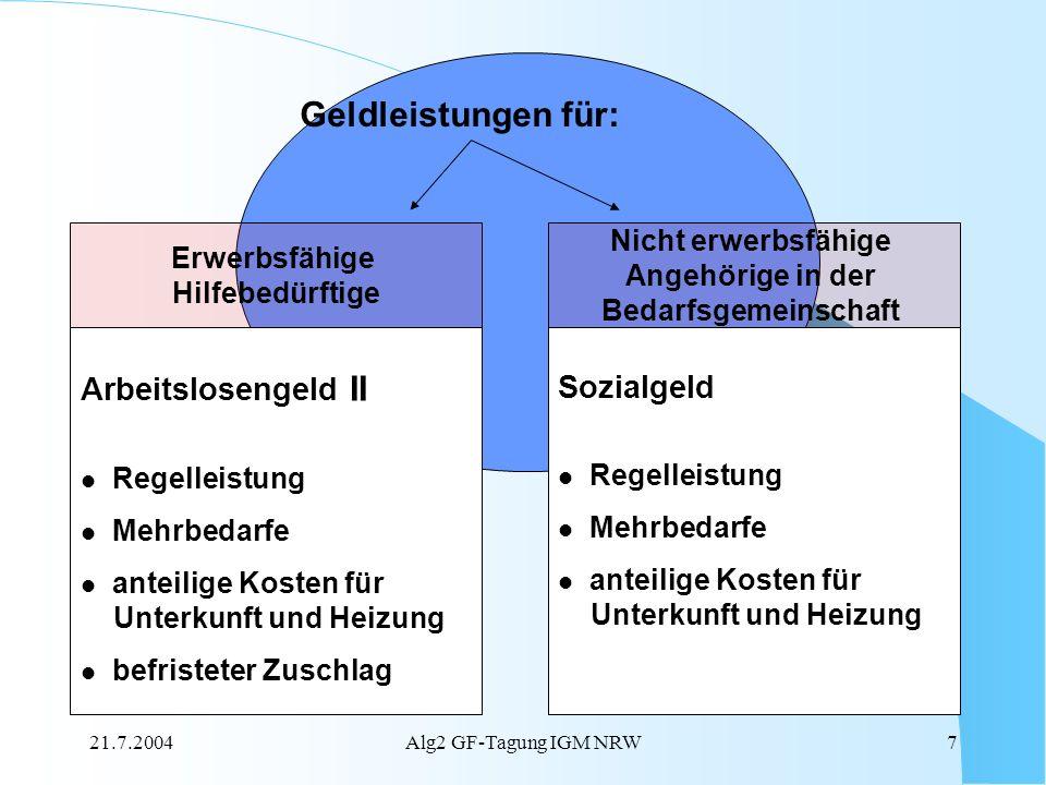 21.7.2004Alg2 GF-Tagung IGM NRW7 Erwerbsfähige Hilfebedürftige Nicht erwerbsfähige Angehörige in der Bedarfsgemeinschaft Arbeitslosengeld II Regelleis