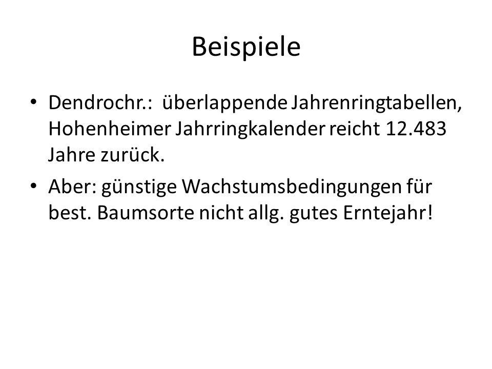 Beispiele Dendrochr.: überlappende Jahrenringtabellen, Hohenheimer Jahrringkalender reicht 12.483 Jahre zurück. Aber: günstige Wachstumsbedingungen fü