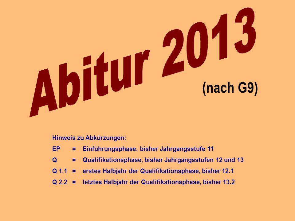 (nach G9) Hinweis zu Abkürzungen: EP = Einführungsphase, bisher Jahrgangsstufe 11 Q = Qualifikationsphase, bisher Jahrgangsstufen 12 und 13 Q 1.1 = erstes Halbjahr der Qualifikationsphase, bisher 12.1 Q 2.2 = letztes Halbjahr der Qualifikationsphase, bisher 13.2