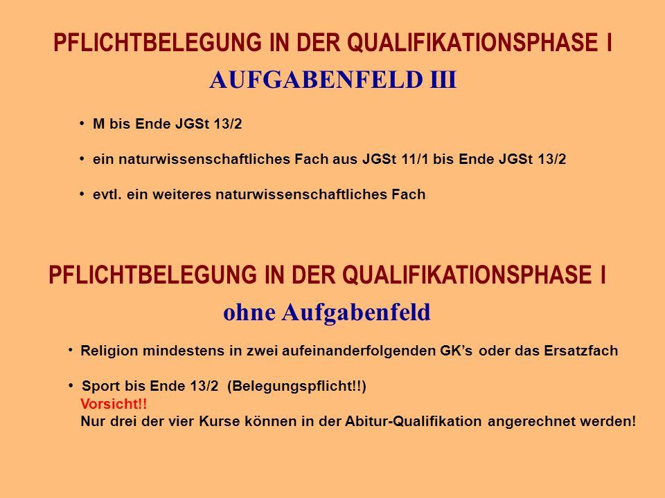M bis Ende JGSt 13/2 ein naturwissenschaftliches Fach aus JGSt 11/1 bis Ende JGSt 13/2 evtl.