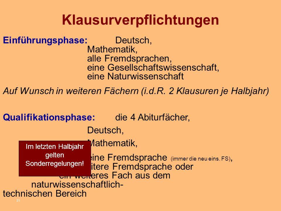 21 Klausurverpflichtungen Einführungsphase: Deutsch, Mathematik, alle Fremdsprachen, eine Gesellschaftswissenschaft, eine Naturwissenschaft Auf Wunsch in weiteren Fächern (i.d.R.