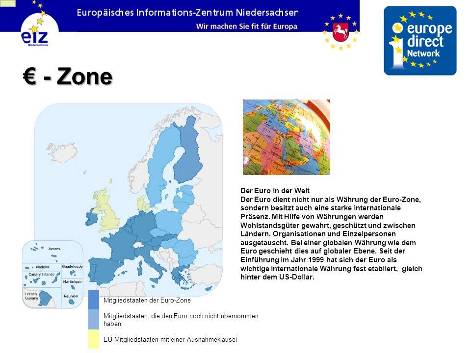 Mitgliedstaaten der Euro-Zone Mitgliedstaaten, die den Euro noch nicht übernommen haben EU-Mitgliedstaaten mit einer Ausnahmeklausel Der Euro in der W