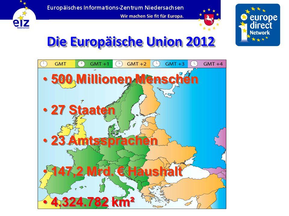 500 Millionen Menschen 27 Staaten 23 Amtssprachen 147,2 Mrd. Haushalt 4.324.782 km² 500 Millionen Menschen 27 Staaten 23 Amtssprachen 147,2 Mrd. Haush