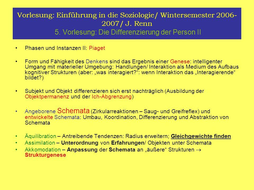 Vorlesung: Einführung in die Soziologie/ Wintersemester 2006- 2007/ J. Renn 5. Vorlesung: Die Differenzierung der Person II Phasen und Instanzen II: P