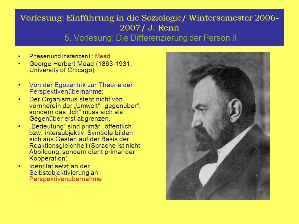 Vorlesung: Einführung in die Soziologie/ Wintersemester 2006- 2007/ J. Renn 5. Vorlesung: Die Differenzierung der Person II Phasen und Instanzen II: M
