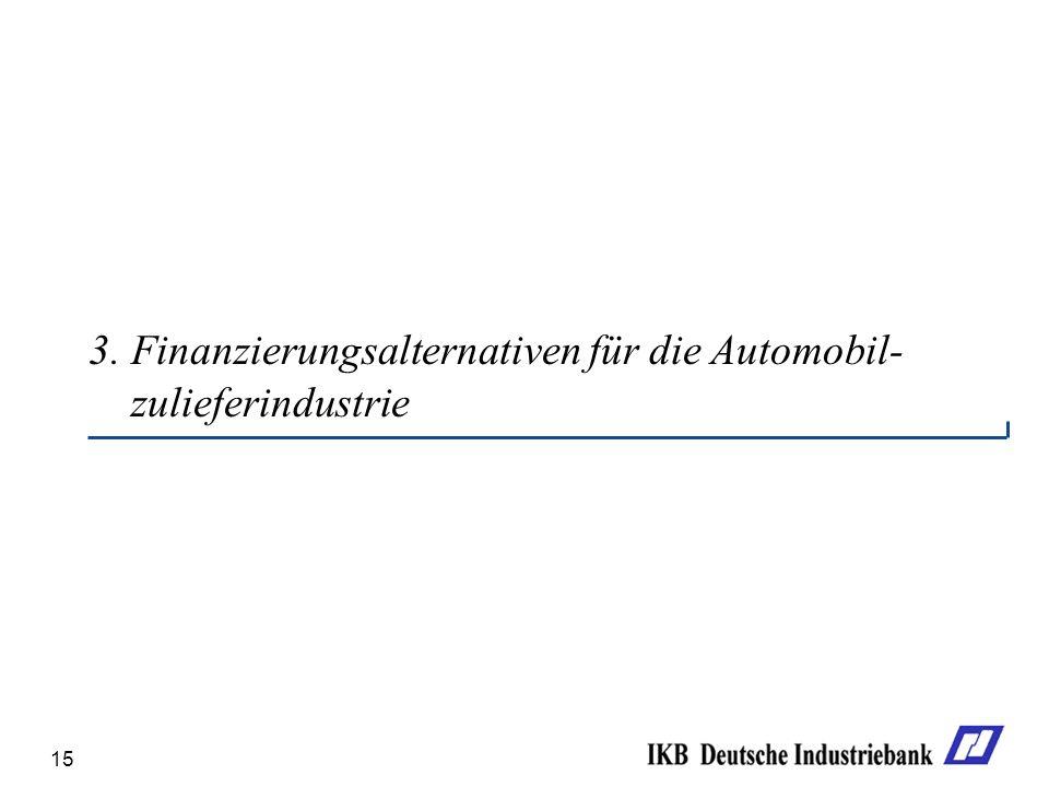 15 3. Finanzierungsalternativen für die Automobil- zulieferindustrie