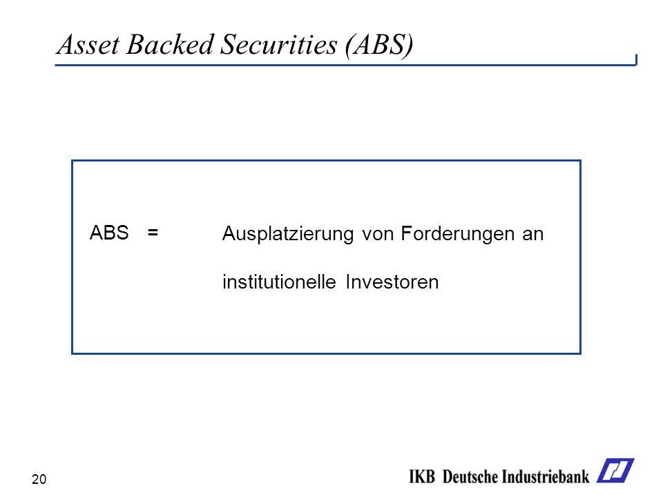 20 Asset Backed Securities (ABS) ABS = Ausplatzierung von Forderungen an institutionelle Investoren