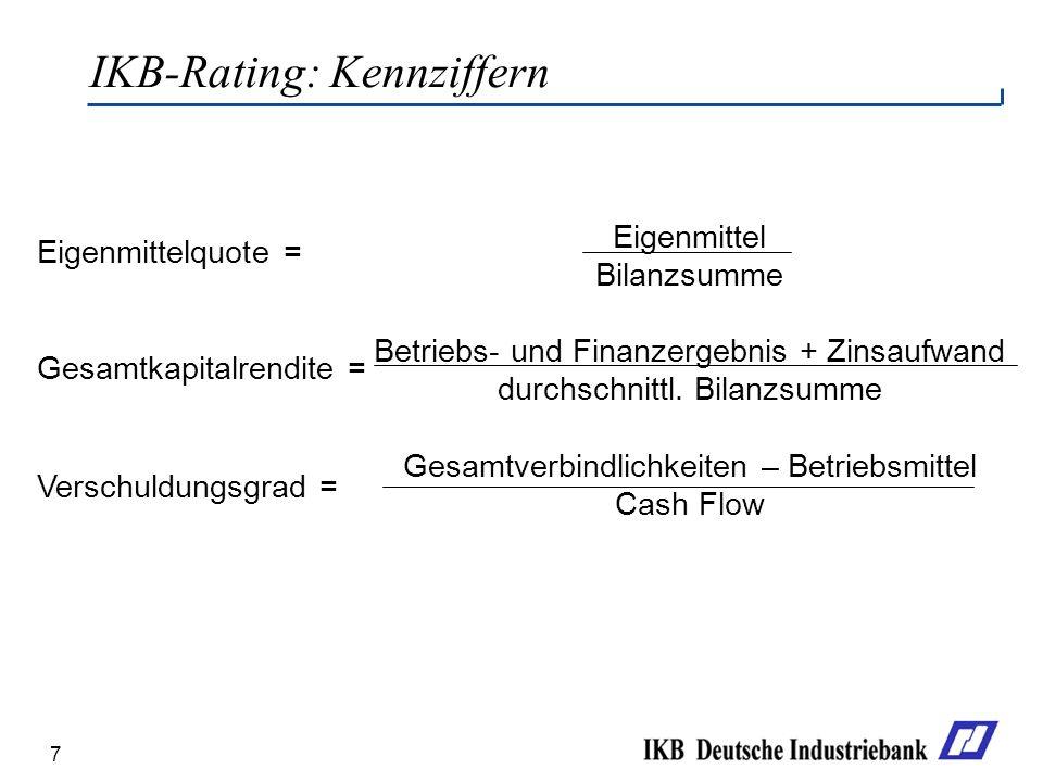 7 IKB-Rating: Kennziffern Eigenmittel Bilanzsumme Betriebs- und Finanzergebnis + Zinsaufwand durchschnittl. Bilanzsumme Gesamtverbindlichkeiten – Betr