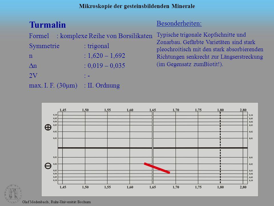 Olaf Medenbach, Ruhr-Universität Bochum Mikroskopie der gesteinsbildenden Minerale Turmalin Formel: komplexe Reihe von Borsilikaten Symmetrie: trigona