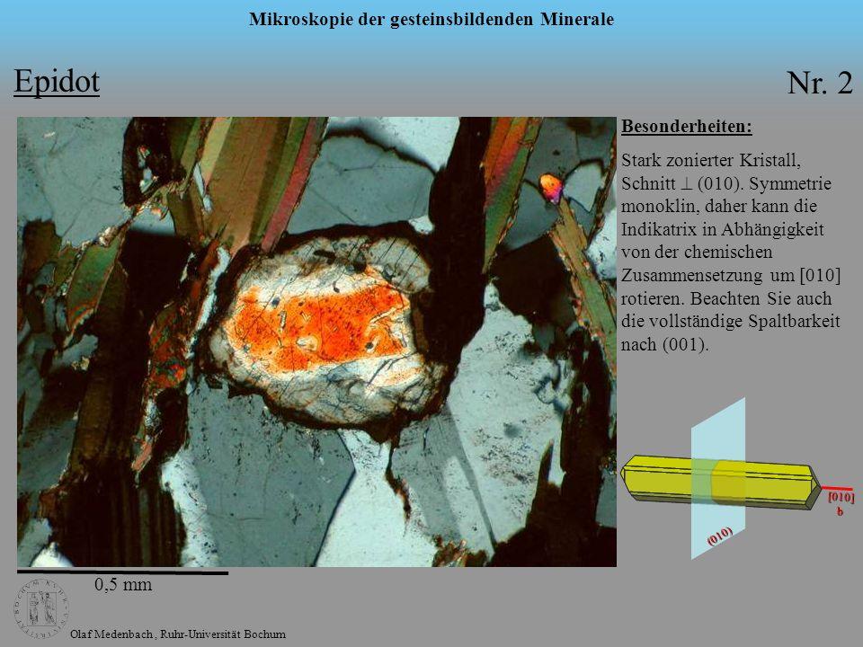 Olaf Medenbach, Ruhr-Universität Bochum Mikroskopie der gesteinsbildenden Minerale Besonderheiten: Stark zonierter Kristall, Schnitt (010). Symmetrie