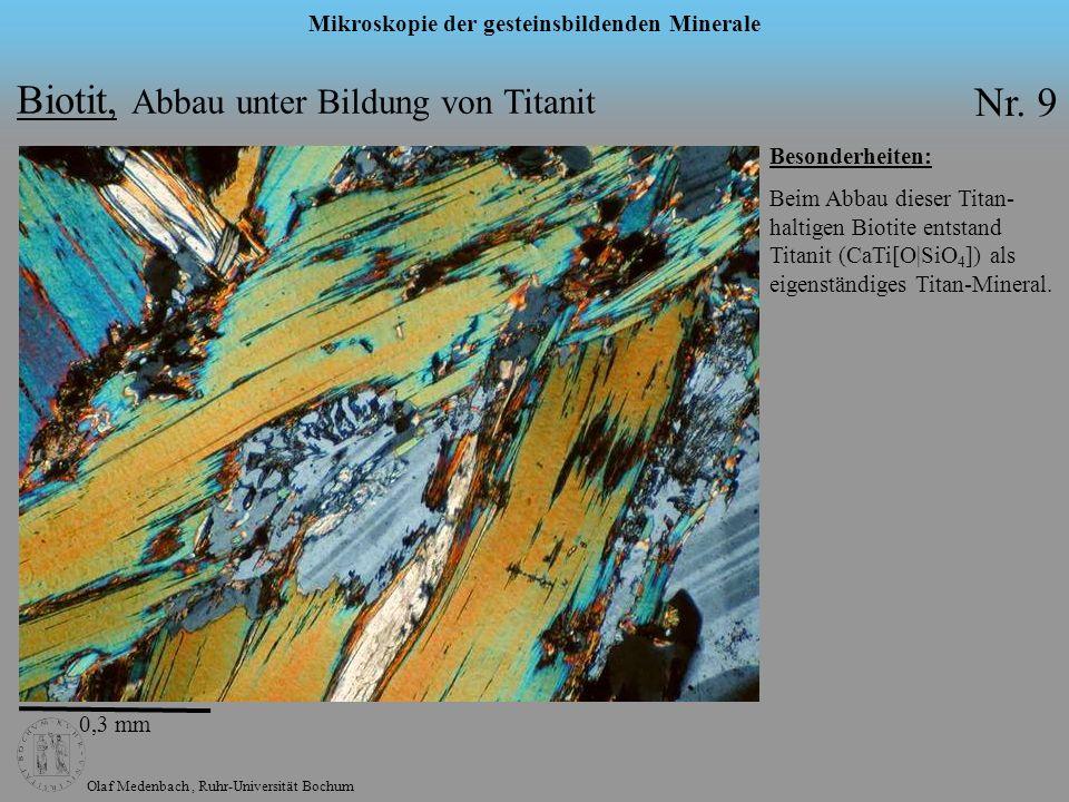 Olaf Medenbach, Ruhr-Universität Bochum Mikroskopie der gesteinsbildenden Minerale Muskovit Formel: KAl 2 [(OH) 2 |AlSi 3 O 10 ] Symmetrie: monoklin n: 1,552 – 1,624 n: 0,036 – 0,054 2V: 35° - 50° max.