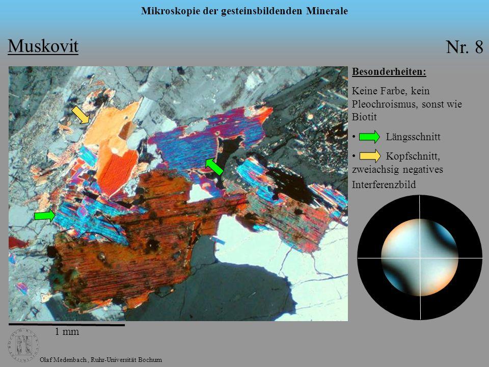 Olaf Medenbach, Ruhr-Universität Bochum Mikroskopie der gesteinsbildenden Minerale Chlorit Formel: komplexe Schichtsilikate Symmetrie: monoklin n: 1,56 – 1,68 n: 0 – 0,01 2V: 0° - 30° max.