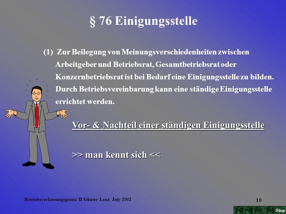 Betriebsverfassungsgesetz II Günter Lenz July 2002 10 § 76 Einigungsstelle (1) Zur Beilegung von Meinungsverschiedenheiten zwischen Arbeitgeber und Be