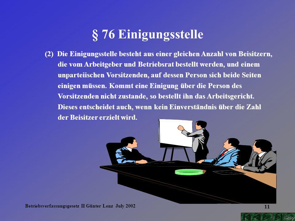 Betriebsverfassungsgesetz II Günter Lenz July 2002 11 § 76 Einigungsstelle (2) Die Einigungsstelle besteht aus einer gleichen Anzahl von Beisitzern, d