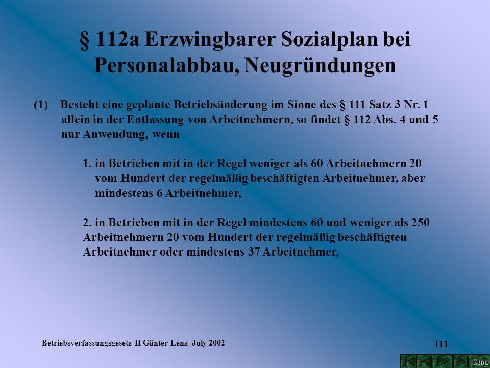 Betriebsverfassungsgesetz II Günter Lenz July 2002 111 § 112a Erzwingbarer Sozialplan bei Personalabbau, Neugründungen (1) Besteht eine geplante Betri