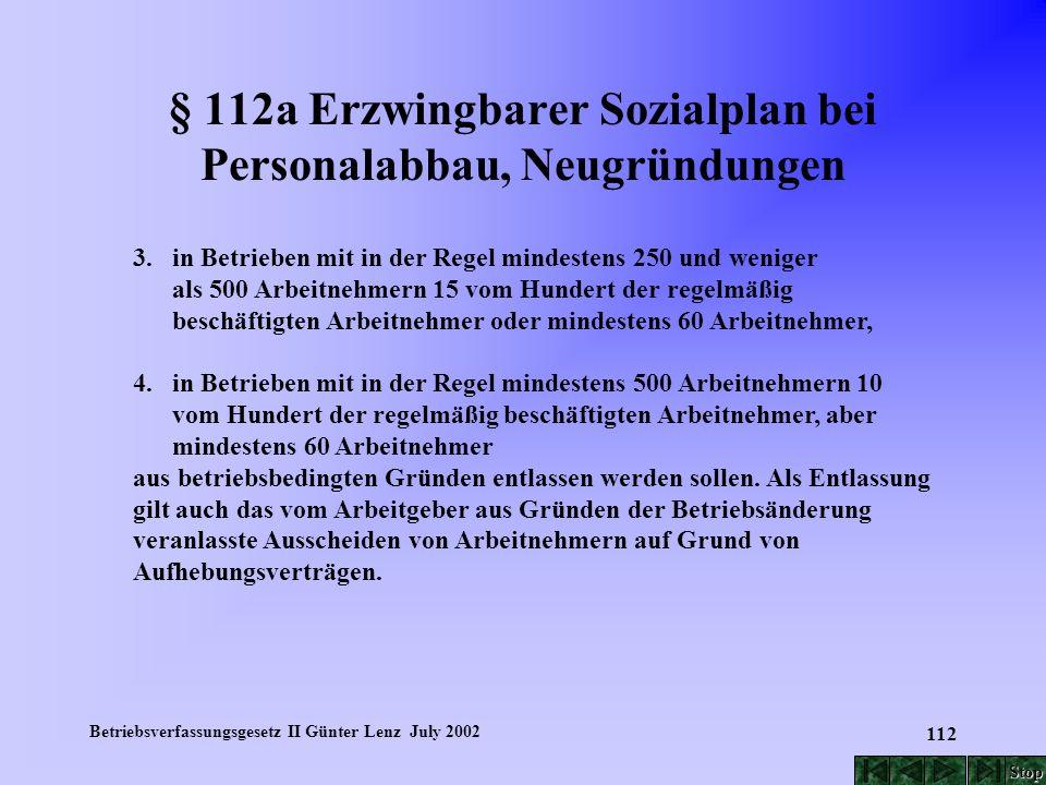 Betriebsverfassungsgesetz II Günter Lenz July 2002 112 § 112a Erzwingbarer Sozialplan bei Personalabbau, Neugründungen 3. in Betrieben mit in der Rege