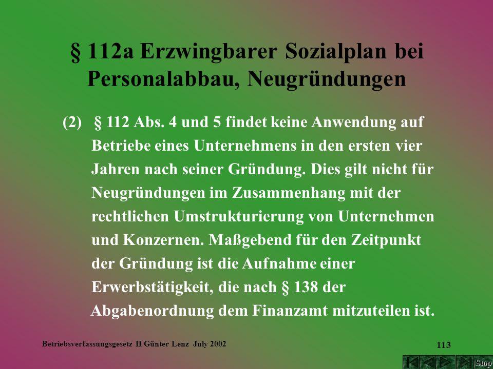 Betriebsverfassungsgesetz II Günter Lenz July 2002 113 § 112a Erzwingbarer Sozialplan bei Personalabbau, Neugründungen (2) § 112 Abs. 4 und 5 findet k