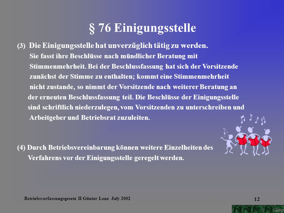 Betriebsverfassungsgesetz II Günter Lenz July 2002 12 § 76 Einigungsstelle (3) Die Einigungsstelle hat unverzüglich tätig zu werden. Sie fasst ihre Be