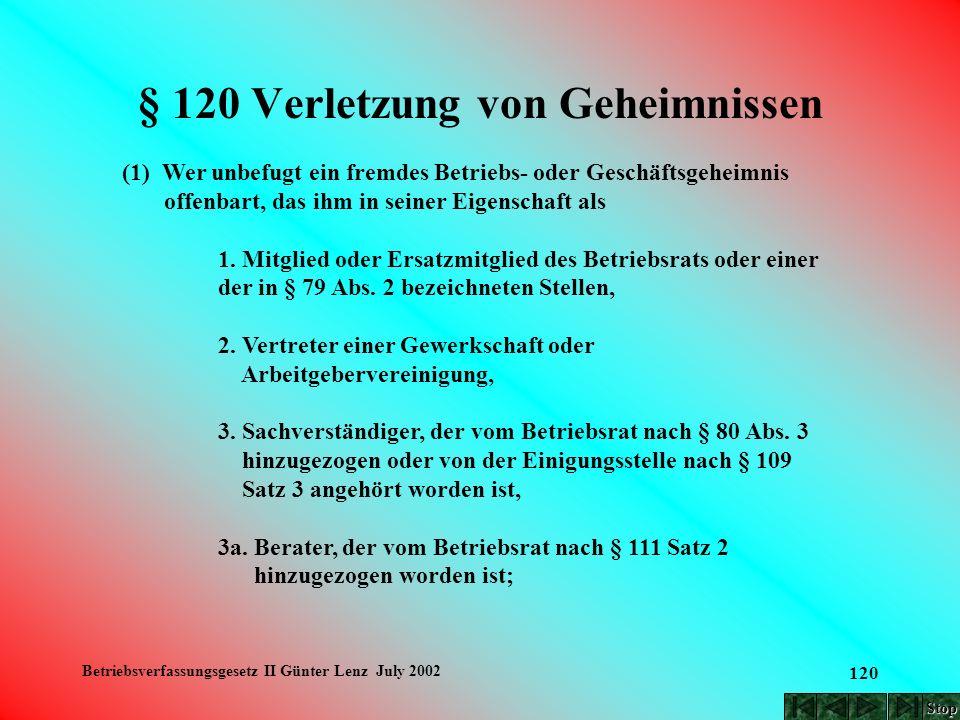 Betriebsverfassungsgesetz II Günter Lenz July 2002 120 § 120 Verletzung von Geheimnissen (1) Wer unbefugt ein fremdes Betriebs- oder Geschäftsgeheimni
