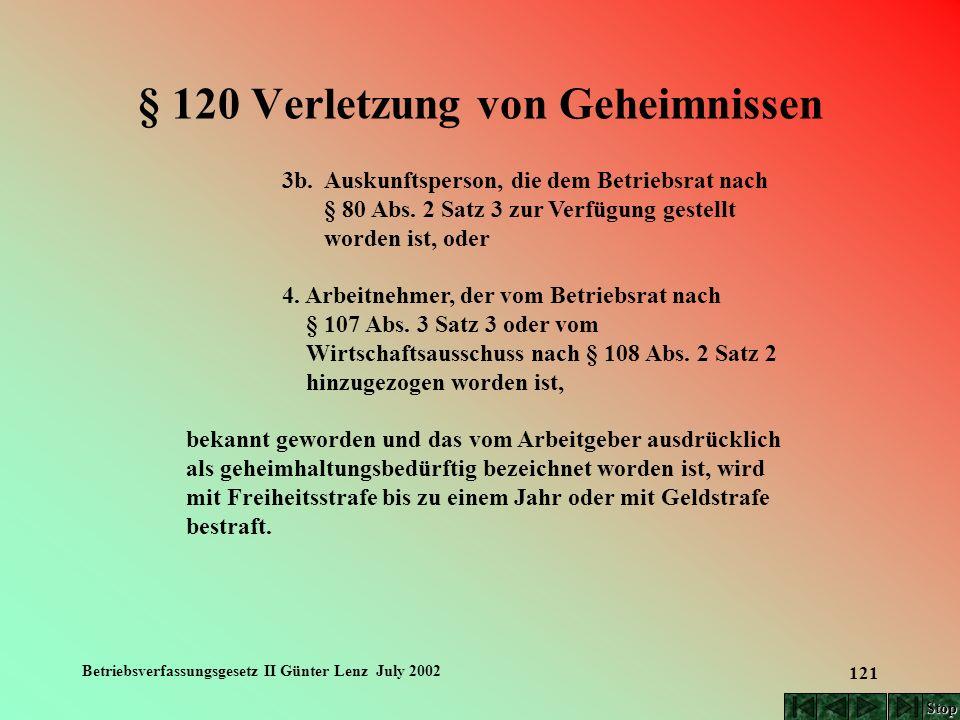 Betriebsverfassungsgesetz II Günter Lenz July 2002 121 § 120 Verletzung von Geheimnissen 3b. Auskunftsperson, die dem Betriebsrat nach § 80 Abs. 2 Sat