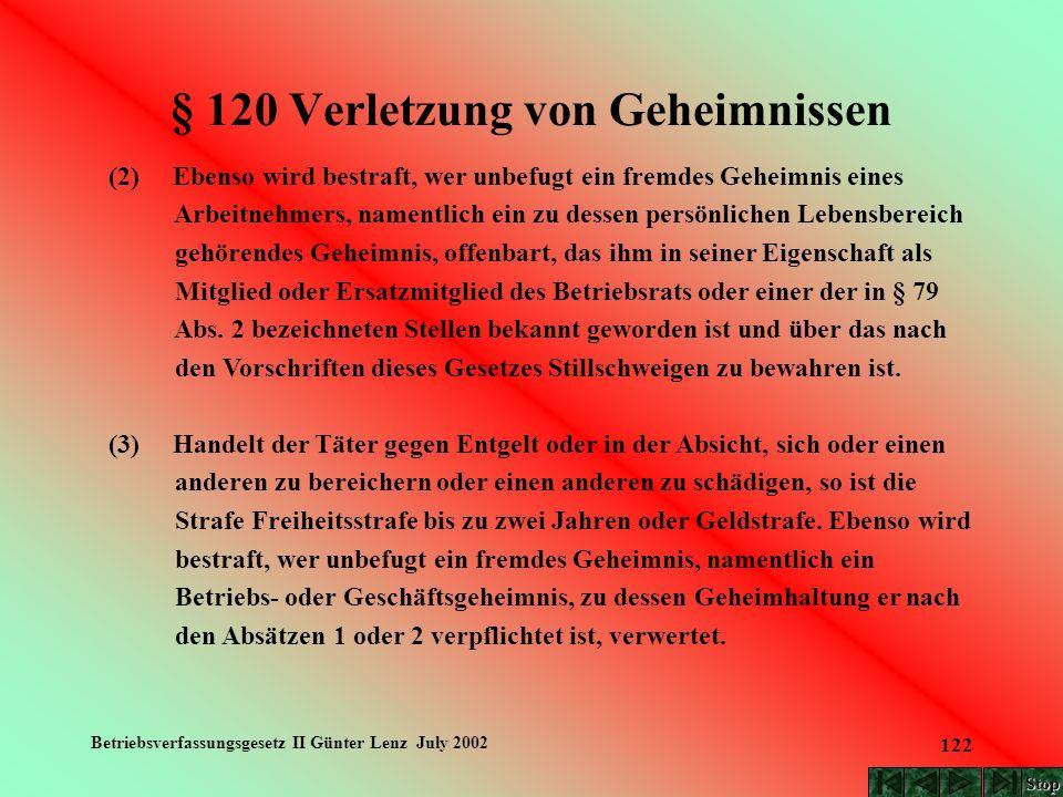 Betriebsverfassungsgesetz II Günter Lenz July 2002 122 § 120 Verletzung von Geheimnissen (2) Ebenso wird bestraft, wer unbefugt ein fremdes Geheimnis