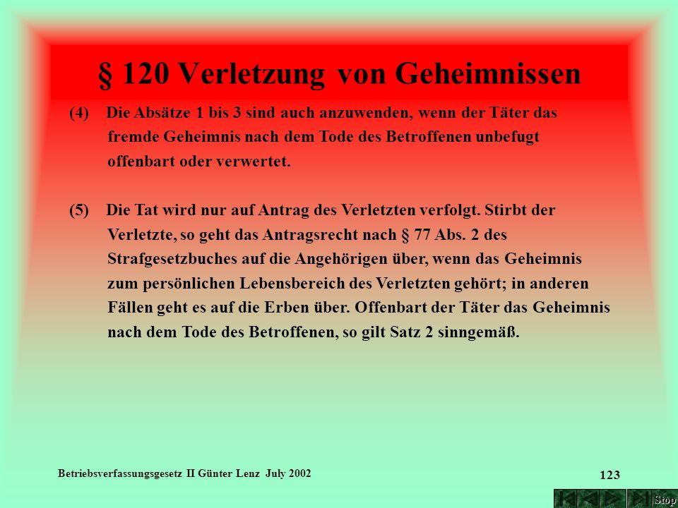 Betriebsverfassungsgesetz II Günter Lenz July 2002 123 § 120 Verletzung von Geheimnissen (4) Die Absätze 1 bis 3 sind auch anzuwenden, wenn der Täter