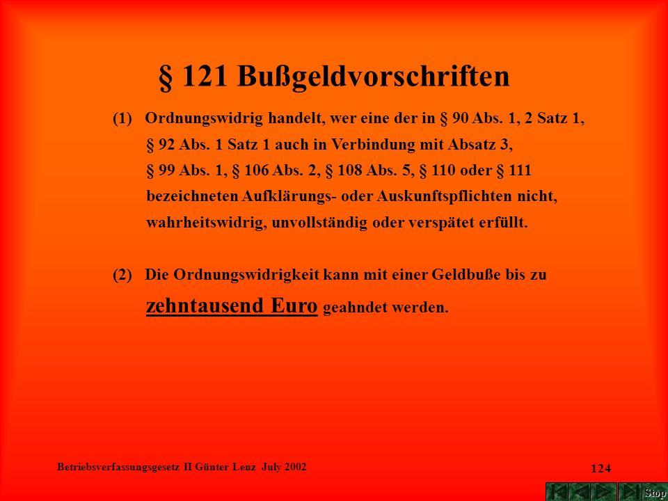 Betriebsverfassungsgesetz II Günter Lenz July 2002 124 § 121 Bußgeldvorschriften (1) Ordnungswidrig handelt, wer eine der in § 90 Abs. 1, 2 Satz 1, §