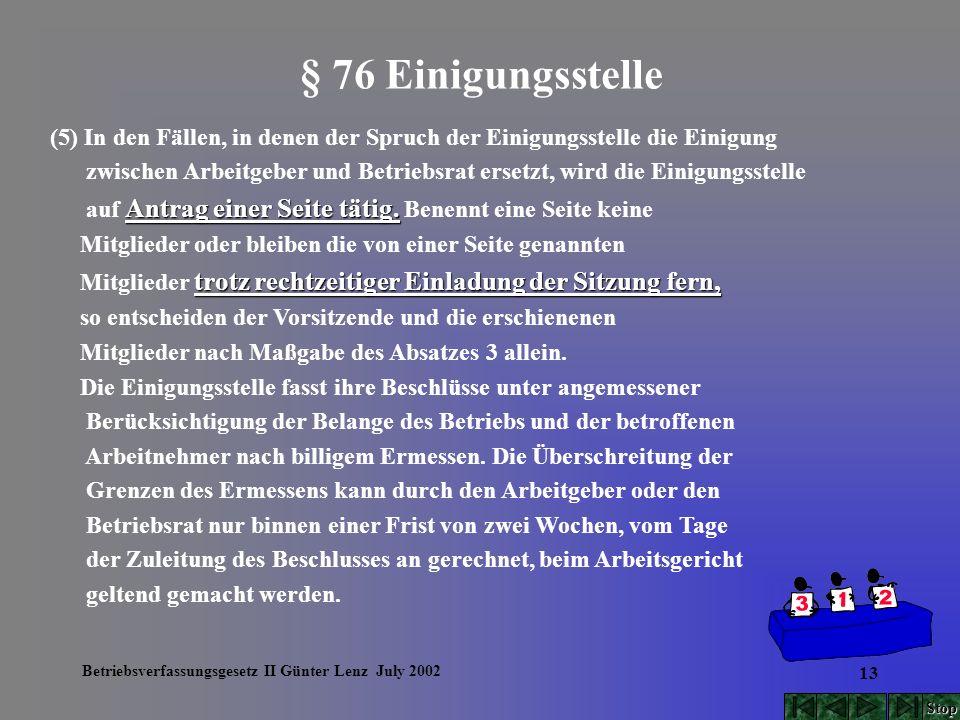 Betriebsverfassungsgesetz II Günter Lenz July 2002 13 § 76 Einigungsstelle (5) In den Fällen, in denen der Spruch der Einigungsstelle die Einigung zwi