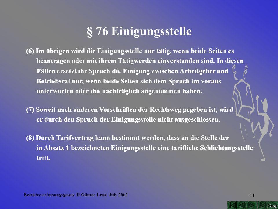 Betriebsverfassungsgesetz II Günter Lenz July 2002 14 § 76 Einigungsstelle (6) Im übrigen wird die Einigungsstelle nur tätig, wenn beide Seiten es bea