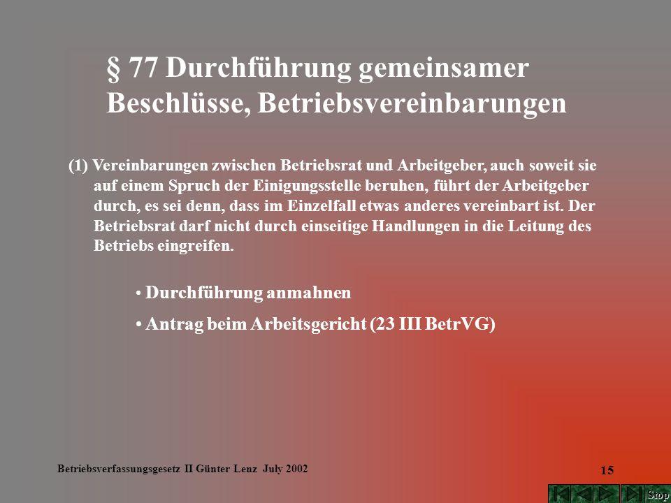 Betriebsverfassungsgesetz II Günter Lenz July 2002 15 § 77 Durchführung gemeinsamer Beschlüsse, Betriebsvereinbarungen (1) Vereinbarungen zwischen Bet