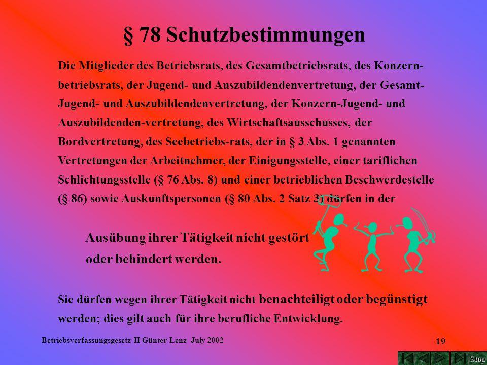 Betriebsverfassungsgesetz II Günter Lenz July 2002 19 § 78 Schutzbestimmungen Die Mitglieder des Betriebsrats, des Gesamtbetriebsrats, des Konzern- be