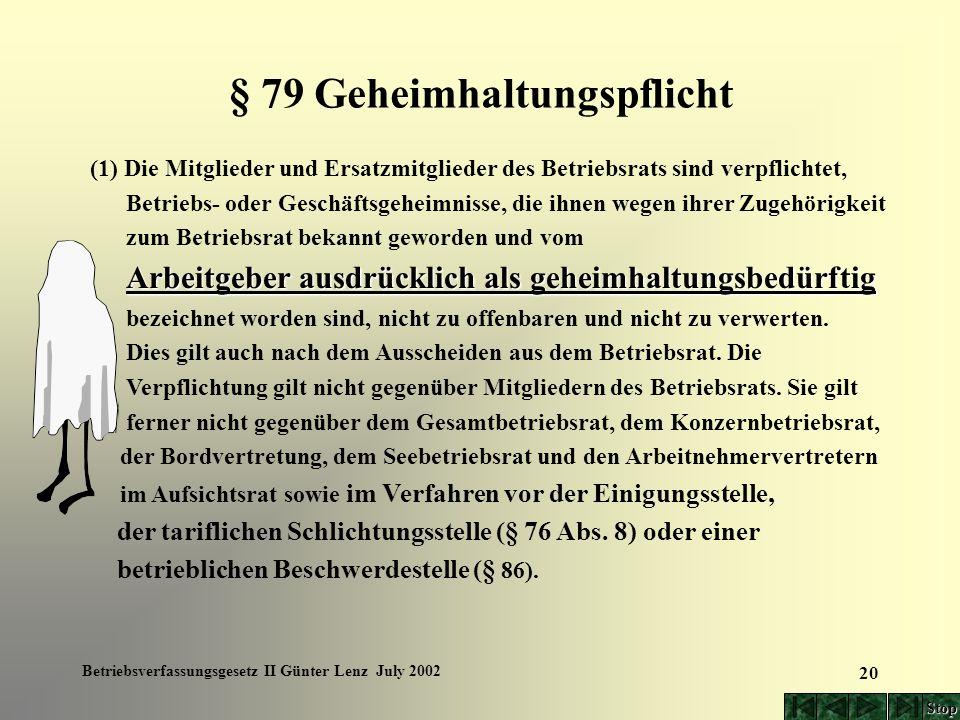 Betriebsverfassungsgesetz II Günter Lenz July 2002 20 § 79 Geheimhaltungspflicht (1) Die Mitglieder und Ersatzmitglieder des Betriebsrats sind verpfli