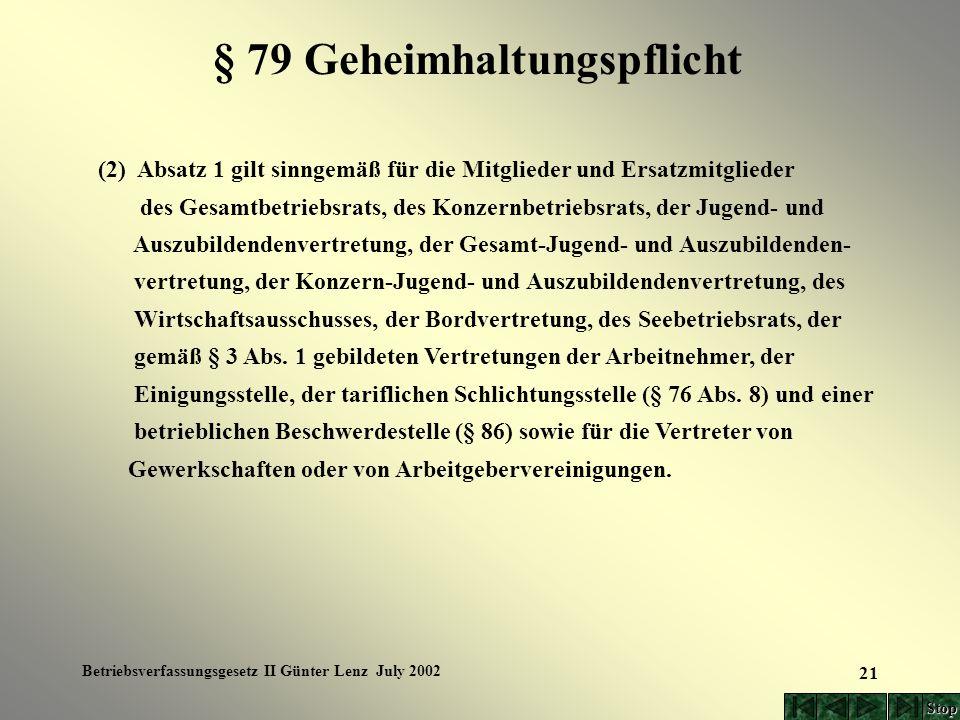 Betriebsverfassungsgesetz II Günter Lenz July 2002 21 § 79 Geheimhaltungspflicht (2) Absatz 1 gilt sinngemäß für die Mitglieder und Ersatzmitglieder d