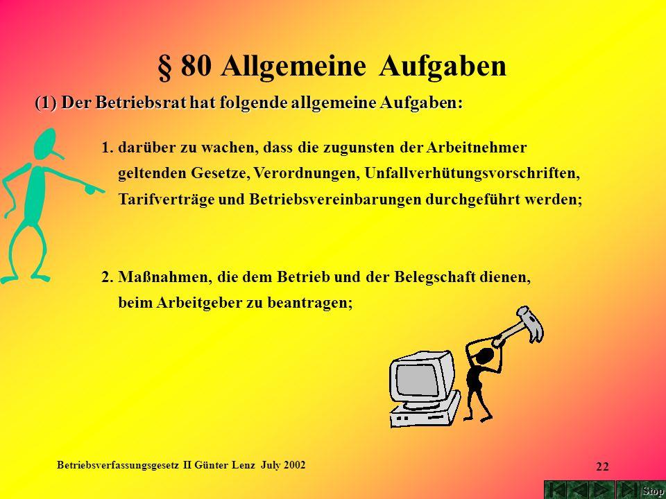 Betriebsverfassungsgesetz II Günter Lenz July 2002 22 § 80 Allgemeine Aufgaben (1) Der Betriebsrat hat folgende allgemeine Aufgaben: 1. darüber zu wac