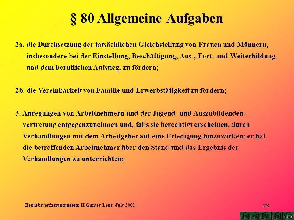 Betriebsverfassungsgesetz II Günter Lenz July 2002 23 § 80 Allgemeine Aufgaben 2a. die Durchsetzung der tatsächlichen Gleichstellung von Frauen und Mä