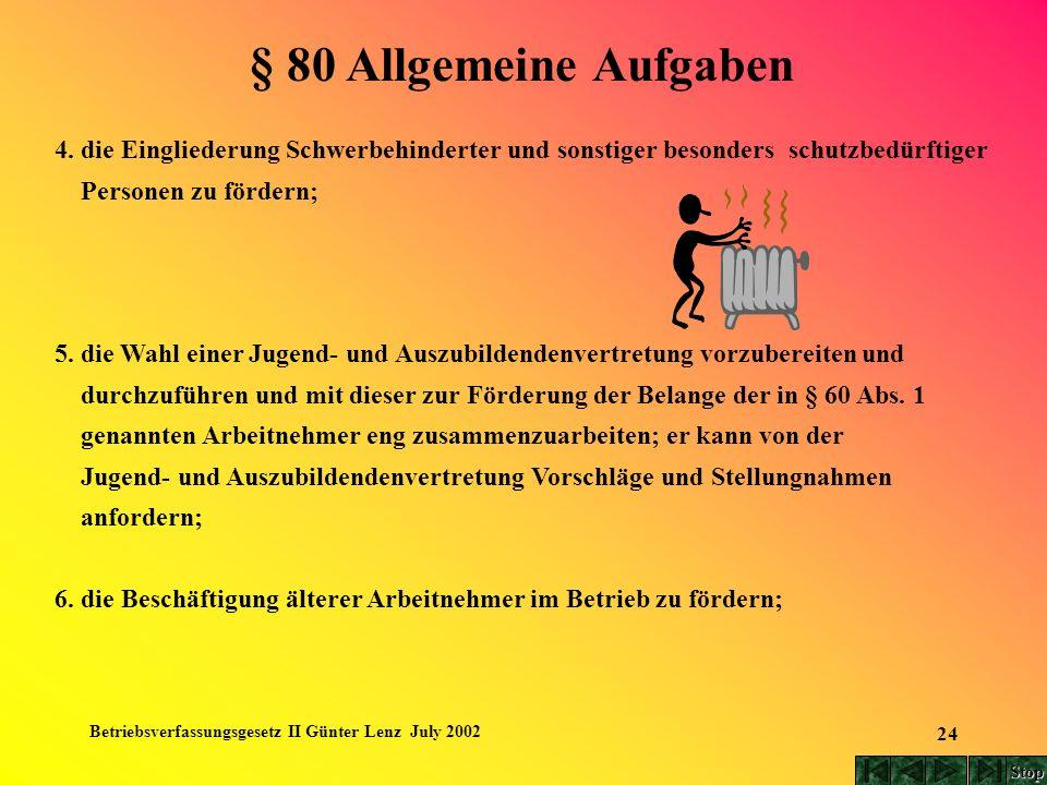 Betriebsverfassungsgesetz II Günter Lenz July 2002 24 4. die Eingliederung Schwerbehinderter und sonstiger besonders schutzbedürftiger Personen zu för